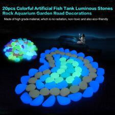 100x Glow In The Dark Pebble Stones Home Garden Walkway Aquarium Fish Tank Decor