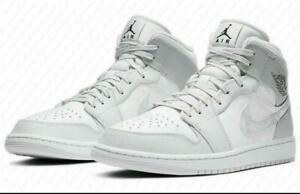 "2021 Neu Herren Damen Air Jordan 1 Mid ""White Shadow"" Smoke Gray Sneaker"
