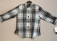 Foxcroft Women's Blue Plaid 3/4 Sleeved Blouse Wrinkle Free Size 8 Misses