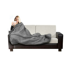 Electric Heated Throw Grey Over Under Blanket Fleece Bed Washable Soft Mattress
