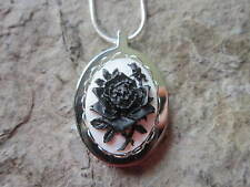 STAINLESS STEEL BLACK ROSE ON WHITE CAMEO URN NECKLACE - MOURNING, ASHES, HAIR
