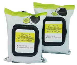 NEW Charcoal 2 x 30 Facial Wipes, Detoxifying,Draws Out Dirt & Oil For Oily Skin