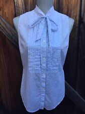 TOMMY HILFIGER Sleeveless Button Down Top Sz 6 Pleated Tie Bow Cotton (X525)