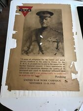 "1918 ANTIQUE WWI 22""X32"" YMCA GENERAL PERSHING POSTER NOVEMBER 11-18 1918"