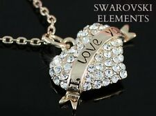 "Pendentif coeur ""I LOVE YOU"" Swarovski® Elements sur chaîne plaqué or rose 18 k"