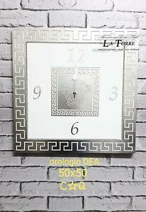 Orologio quadrato da parete Barocco moderno bianco e argento Dea 50 cm