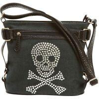 Skull Rhinestone Shoulder Purse, Small Women Clutch Satchel Evening Bag Baguette