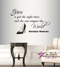Vinyl Decal Give a Girl Right Shoes Marilyn Monroe Quote Wall Decor Sticker 679