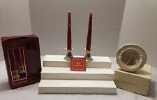 Lenox Lot Of Candlesticks & Small Ivory Frame Accented In Gold New