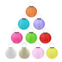 Solaire LED Lampion Multicolore Rond Extérieur Chaîne Partie Jardin 20-30cm