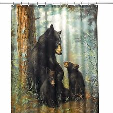 Northwoods Woodland Cabin Lodge Black Bear Fabric Shower Curtain Hautman Brother