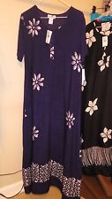 New w/Tags Desert Jems Short Sleeve Navy Batik Hawaiian Dress size S runs Larger