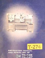 Takang TK-105 and TK-107, Lathes Instruction and Parts Manual