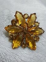 VINTAGE CITRINE YELLOW GLASS FLORAL SILVER /GOLD TONE BROOCH PIN GIFT FLOWER