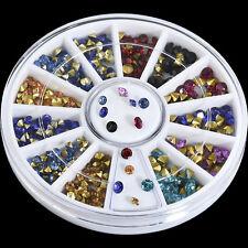 DIY Mixed Nail Art Rhinestone Tips Glitter Colorful Crystal Decoration 2/2.5/3mm