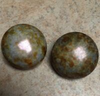 Clip On Earrings Round Gemstone Jasper Blue Green Brown Marbled Vintage Retro
