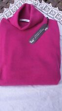 lovely new raspberry pink 100% cashmere DEANE & WHITE polo neck jumper XL bnwt