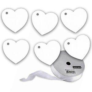 100 X White Heart Tags With Organza Ribbon, Wedding - Wish Tree.
