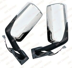 QSC Left Right Chrome Power & Heated Door Mirror for Freightliner Cascadia 2018+