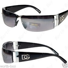 DG Mens Womens Rectangular Rimless Designer Sunglasses Shades Wrap Black Metal