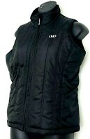 Marker Womens Puffer Vest Black Sleeveless Coat Faux Fur Lined Zip Up Size S