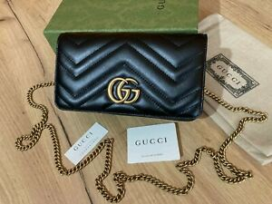 GUCCI Women Mini Bag Gold GG Chain Black Leather Beloved Made in Italy Authentic