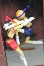 Muay Thai Wooden Stick Figures in a Box Wall Frame