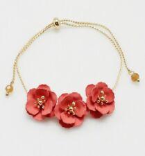 Gold and Coral Flowered Adjustable FASHION Bracelet