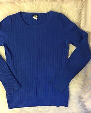 J CREW CAMBRIDGE CABLE KNIT CREWNECK WOOL/CASHMERE SWEATER~XS~ROYAL BLUE~CLASSIC