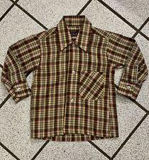 Vintage Boys Shirt Western Cowboy DEE CEE Plaid Long Sleeve Buttons 1980s Sz 3T