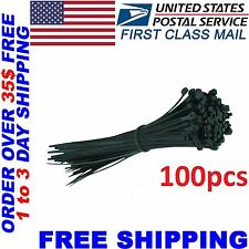 """100 PCS Pack 8"""" inch Black Network Cable Cord Wire Tie Strap 30 Lbs Zip Nylon in"""