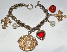 Vintage Charm Bracelet of Roman Warrior Fleur De Lys Pearls Red Heart & Red Bead