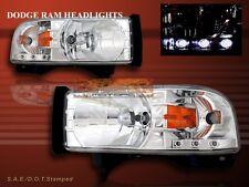 94-01 Dodge Ram Pickup Crystal Headlights Chrome with LED Amber 1500 2500 3500