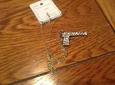 New Fashion Jewelry tone chain with rhinestone look studded hand gun