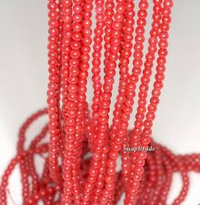 """3MM DOZEN ROSES RED CORAL GRADE AA GEMSTONE ROUND 3MM LOOSE BEADS 16"""""""