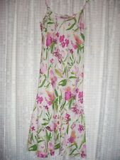 sz 10 (10R) PER UNA linen pink white green floral dress - great for cruises etc