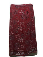 Coldwater Creek Red Bandana Print Maxi Long Knit Skirt Medium
