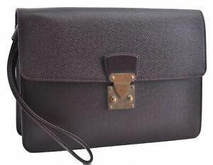 Authentic Louis Vuitton Taiga Kourad Clutch Bag Bordeaux Red M30196 LV D2840