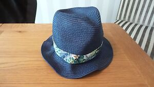 John Lewis Boys Blue Flower Straw Summer Trilby Hat M/L Brand New RRP £10