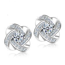 925 Silver Women Wedding Jewelry Love Forever Elegant Crystal Ear Stud Earrings