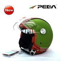 Italian DOT ECE Motorcycle Helmet 3/4 Open Face Jet Vintage Retro Cafe Racer