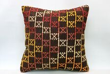 Kilim Ethnic Pillow, 20x20 in, Decorative Vintage Cushion, Handmade Boho Pillow