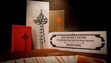 2 Deck Set Ace Fultons Orange & Brown Rare Limited Custom Playing Cards Casino.