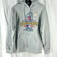 Majestic MLB Chicago Cubs 2016 World Series Champions Hoodie Gray M