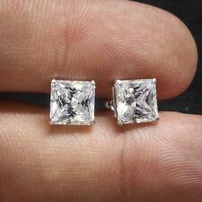 White Gold 925 Sterling Silver Princess Cut Diamond Stud Earrings
