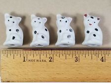 Set of 4 Tiny Antique Cat Figurines, Hand Painted, White w. Black Spots, Japan