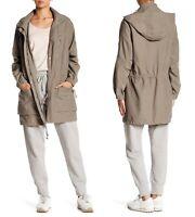 ALLSAINTS Skyler Parka Women's Hooded Utility Jacket in Soft Khaki Green Size XS