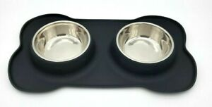 2 Bowls Stainless Steel Dog Food Bowls With No Spill Non-Skid Silicone Mat