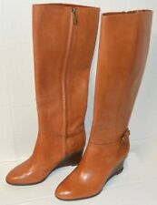 LAUREN RALPH LAUREN Tia Polo Tan Leather WEDGE HIGH BOOTS WOMEN'S 8B EU39