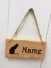 Handmade Personalised Rustic Wooden Cat Pet Kitten Child's Room Sign Plaque